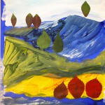 Collage, tempera paint
