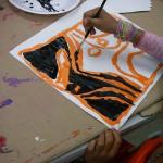Line Design, tempera paint