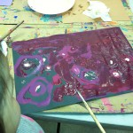 Planets, tempera paint