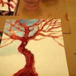 Tree study, tempera