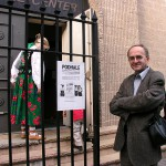 Prof. J. Golec at the main entrance, Polish Center, Brooklyn