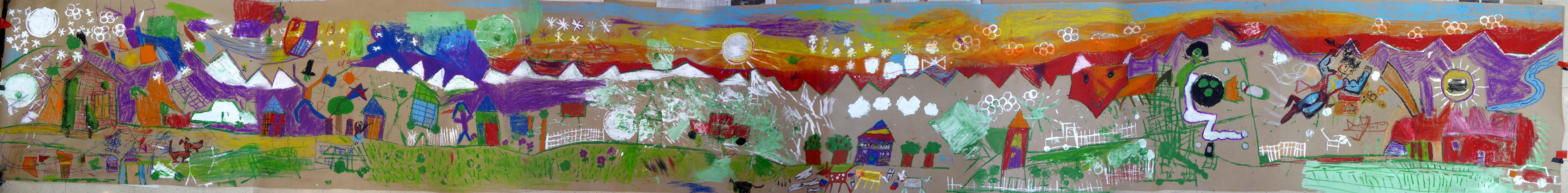 Mural created by children during art workshops supported by NYSCA, ArtsWestchester and Port Chester Public Library