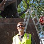 Central Park Jagiello monument project site. 9/16/2016. Matthew C. Reiley, sculptor, Central Park Conservancy.