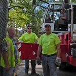 Central Park Jagiello monument project site. 9/16/2016. Central Park Conservancy job site crew members.